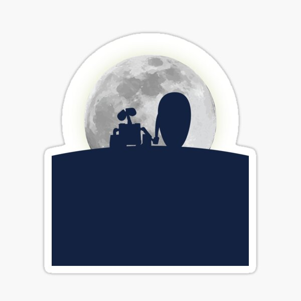 Wall•E and EVE in the Moonlight, Awwwww. Sticker