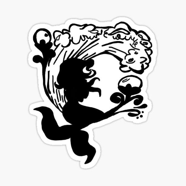 BW Mermaid Sillhouette Sticker