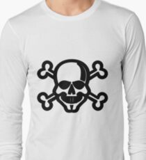 Clip Art Skull and Crossbones Unicode Character ☠ (U+2620) Long Sleeve T-Shirt