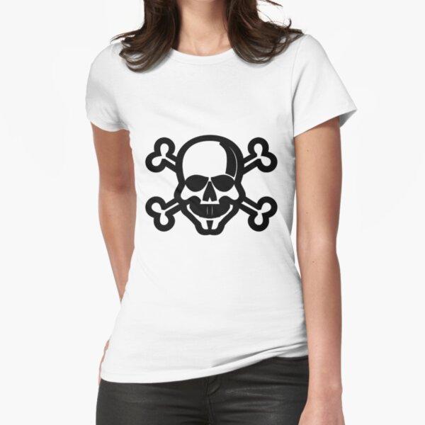 Clip Art Skull and Crossbones Unicode Character ☠ (U+2620) Fitted T-Shirt