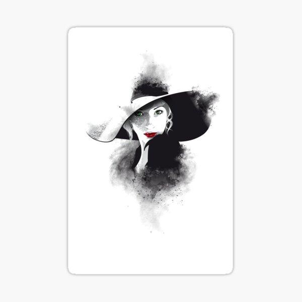 The hat, girl portrait Sticker