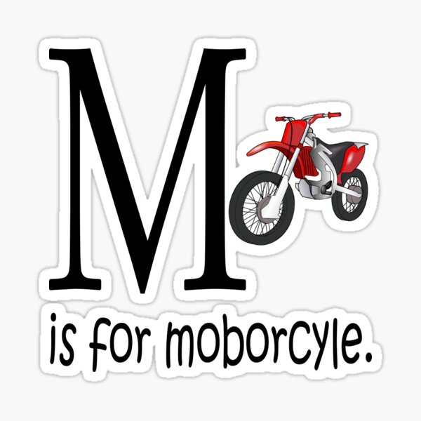 Funny Alphabet: M is for Motorcycle Sticker