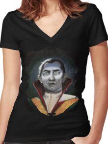 Renaissance Victorian Portrait - Dracula Women's Fitted V-Neck T-Shirt