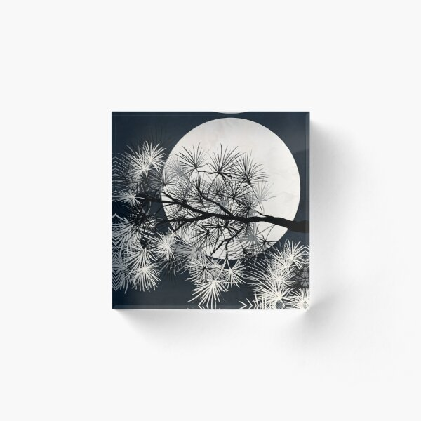 Pine Tree with Moon Graphic black and white Print Acrylic Block