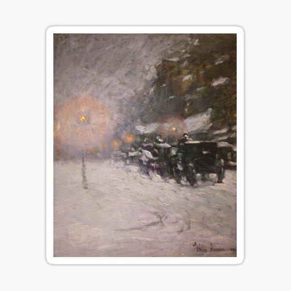 Winter, Midnight - Childe Hassam Sticker