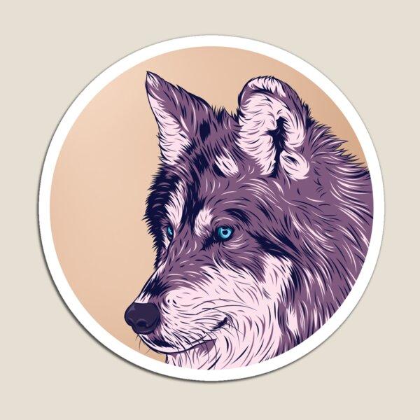 Blue eyed wolf Magnet