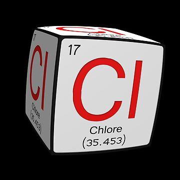Chemical periodic table style tile Cl Chlore (Francais / French) cubed by funkyworm