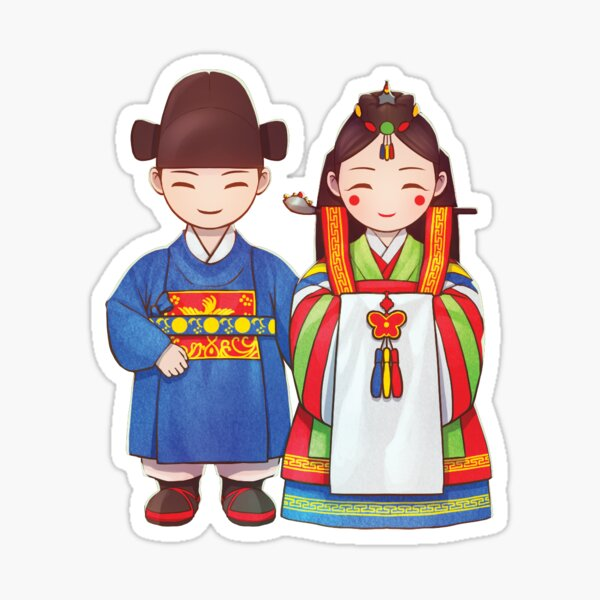 Traditional Costume Culture Sticker Beauty of Korea Decoration gold leaf print