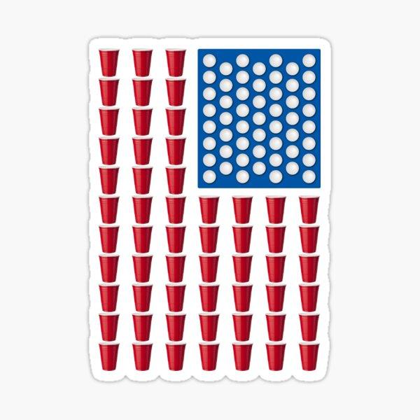 y a la cerveza pong. Las rayas rojas de la copa y las estrellas de ping pong hacen de este un gran regalo o camiseta para patriotas y alcohólicos por igual. Pegatina