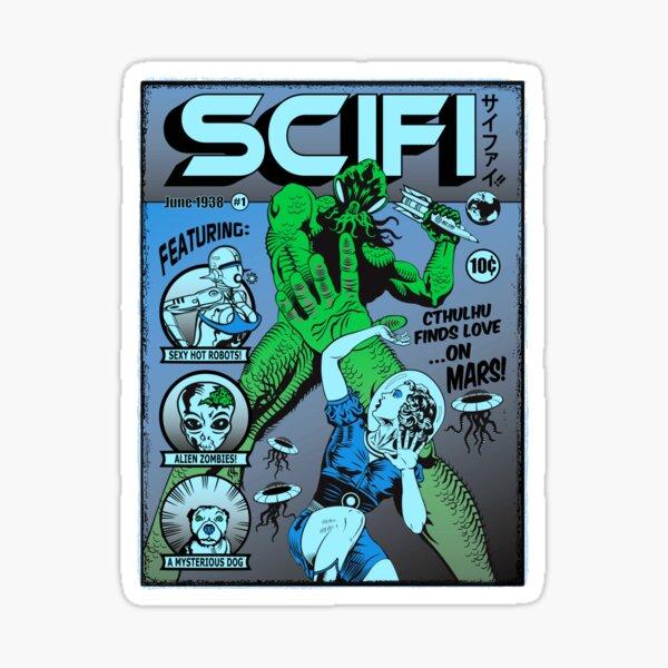 Cthulhu en la portada de SCIFI Pegatina