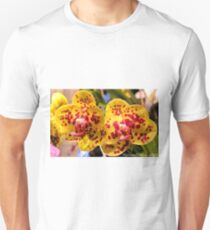 #296          Yellow & Red Spotted Orchid T-Shirt