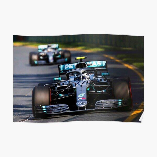 Valtteri Bottas racing in the 2019 Australian Grand Prix Poster