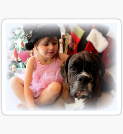 Girl And Dog Portrait - Boxer Dogs Series Sticker