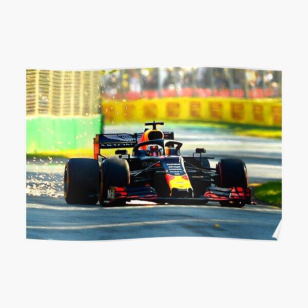 Max Verstappen en course dans le Grand Prix d'Australie 2019 Poster