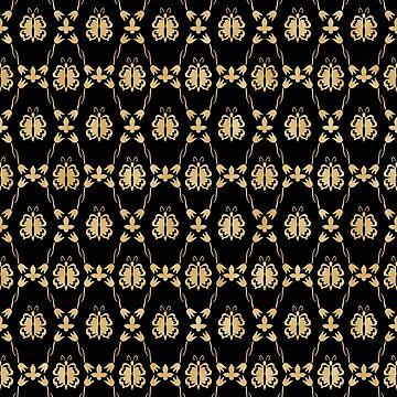 Black and Gold Damask Geometric Pattern by JakeRhodes