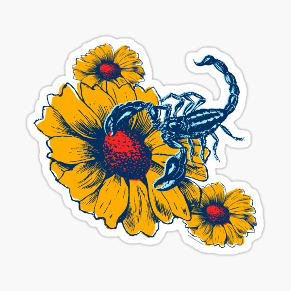 Scorpion Flowers Sticker