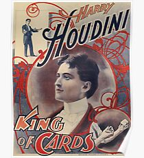 Vintage Harry Houdini King of Cards 1895 Poster