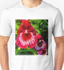 #295          Red & White Orchid Unisex T-Shirt