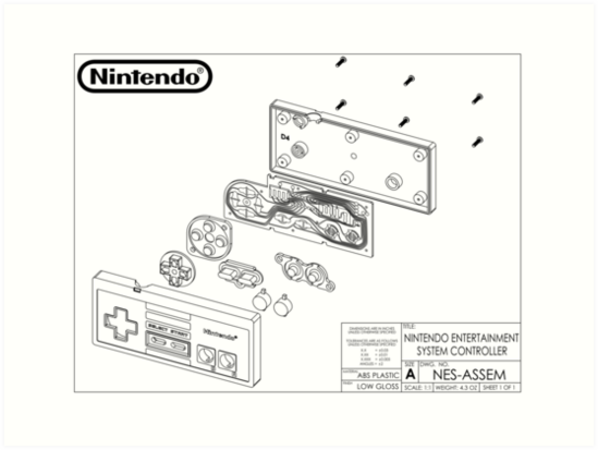 Exploded NES Controller Schematic