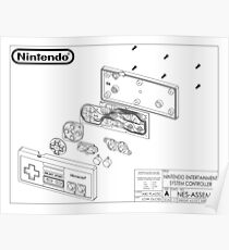 Exploded NES Controller Schematic Poster
