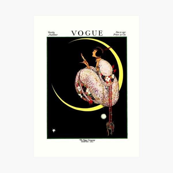 VOGUE : Vintage 1917 Lady on The Moon Print Art Print