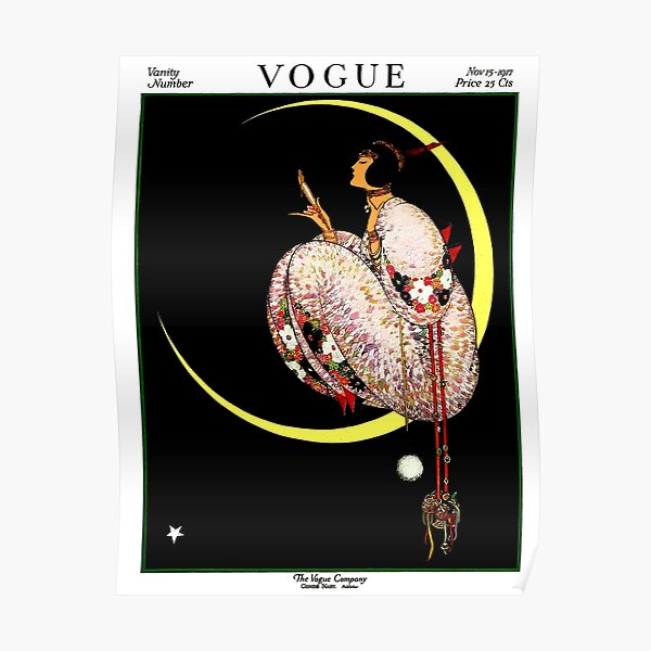 VOGUE : Vintage 1917 Lady on The Moon Print Poster