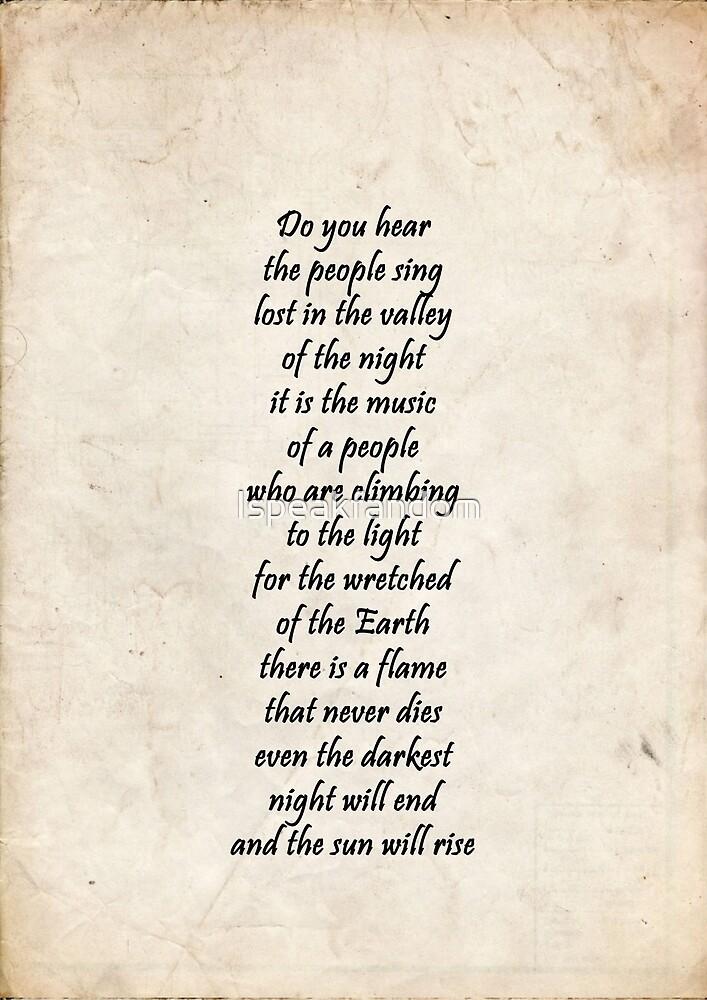 Do you hear the people sing by Ispeakfandom