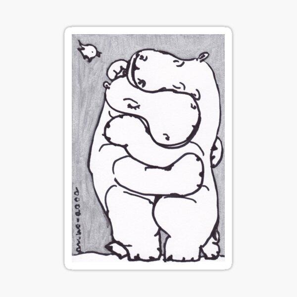 Hippo Hug - Original Drawing Sticker
