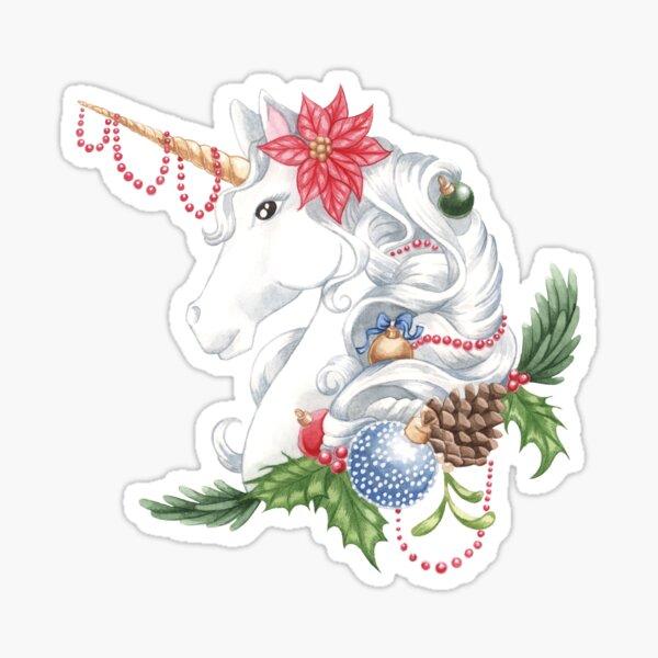 Christmas Unicorn Snow Background Sticker
