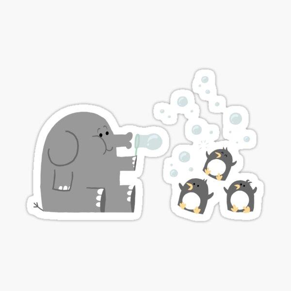 Elephants & Penguins love bubbles. Sticker