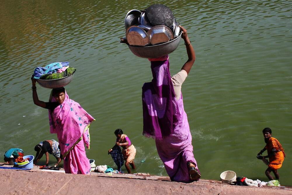 Washing Day, Sari Clad Women, South India by Jane McDougall