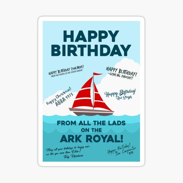 Bottom Ark Royal Funny Birthday Card Sticker