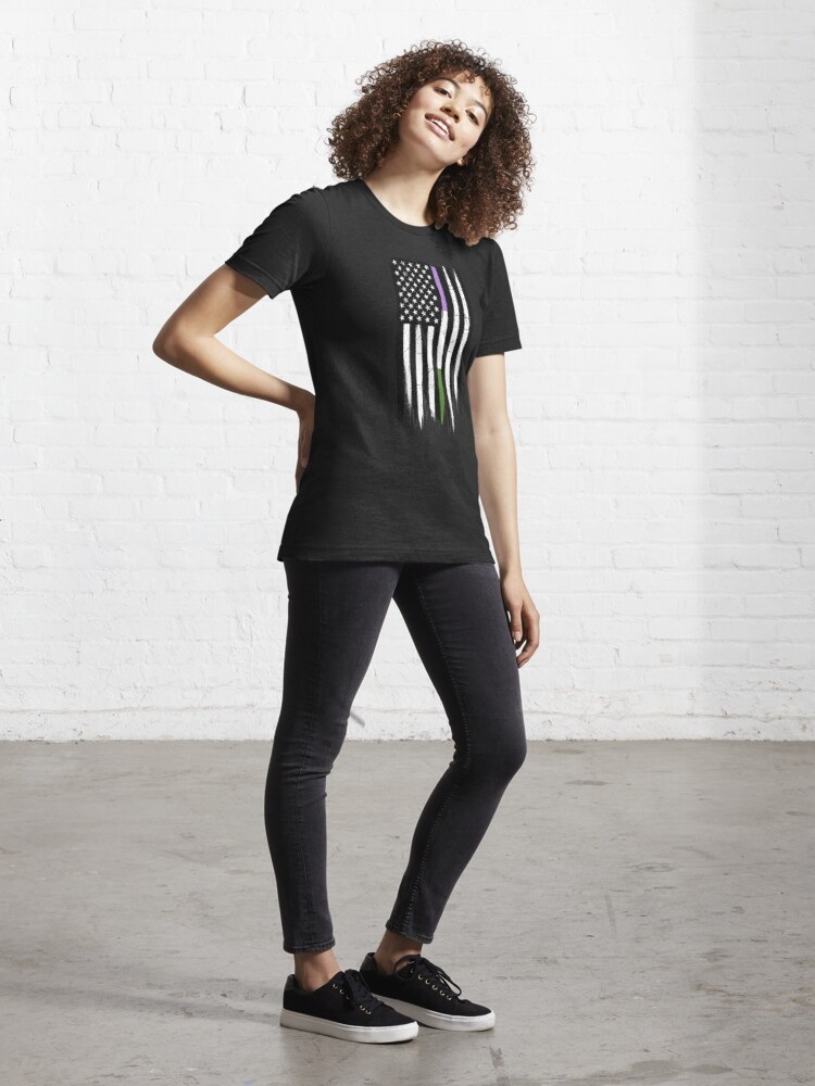 Alternate view of Genderqueer Thin Line American Flag Essential T-Shirt