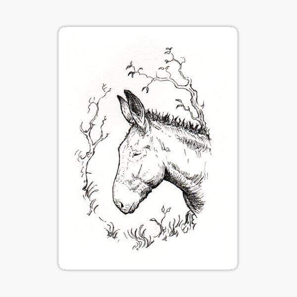 Pensive donkey Sticker