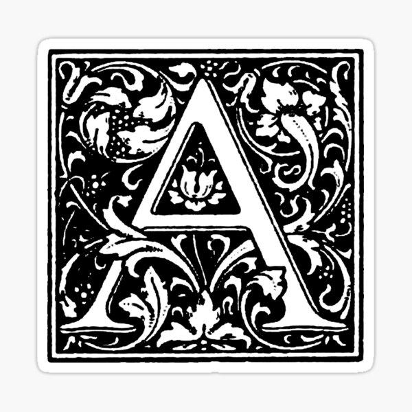 William Morris Renaissance Style Cloister Alphabet Letter A Sticker