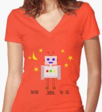 Bedtime robot beep beep Women's Fitted V-Neck T-Shirt