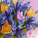 Frühjahr Iris und Tulpen Aquarell von Irisangel