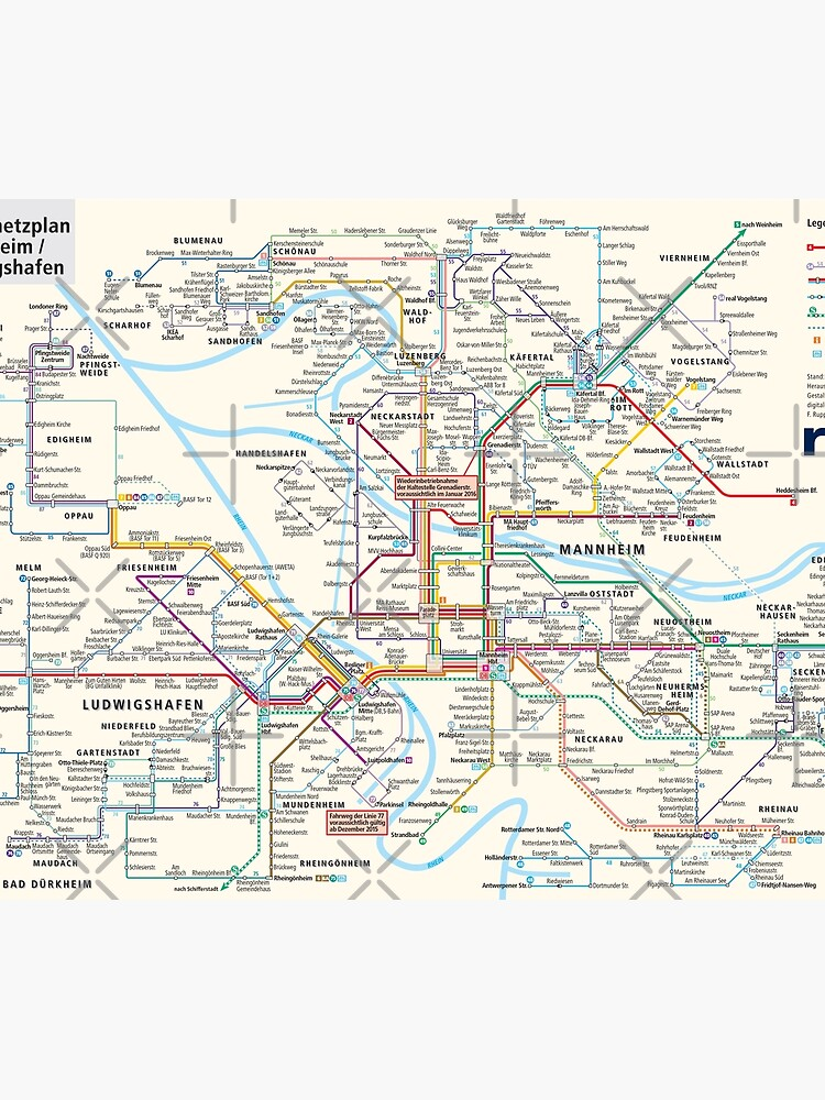 Map Of Germany Mannheim.Mannheim Ludwigshafen Line Network Map Germany Hd Duvet