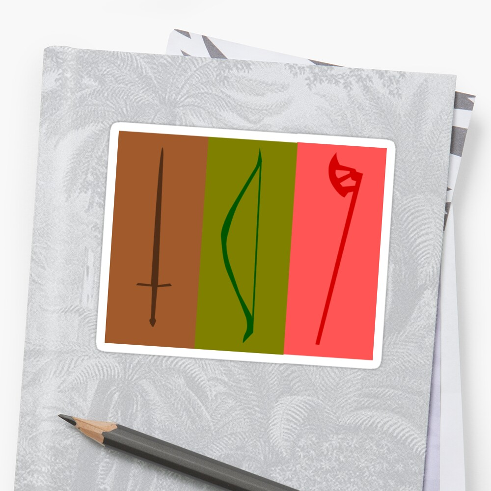 Sword, Bow, Ax Sticker