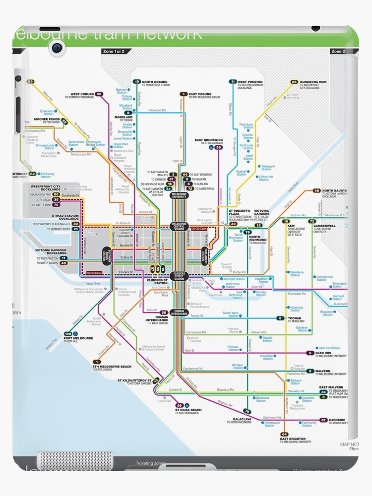 Australia Melbourne Map.Melbourne Australia Tram Network Map Hd Ipad Case Skin By Superfunky