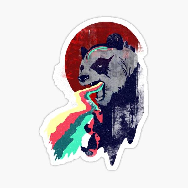 Panda arc-en-ciel en colère Sticker