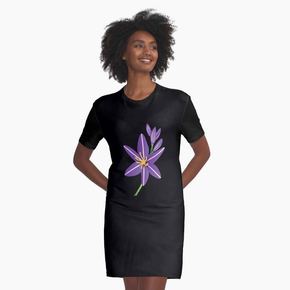 Purple Asphodel Flower Graphic T-Shirt Dress