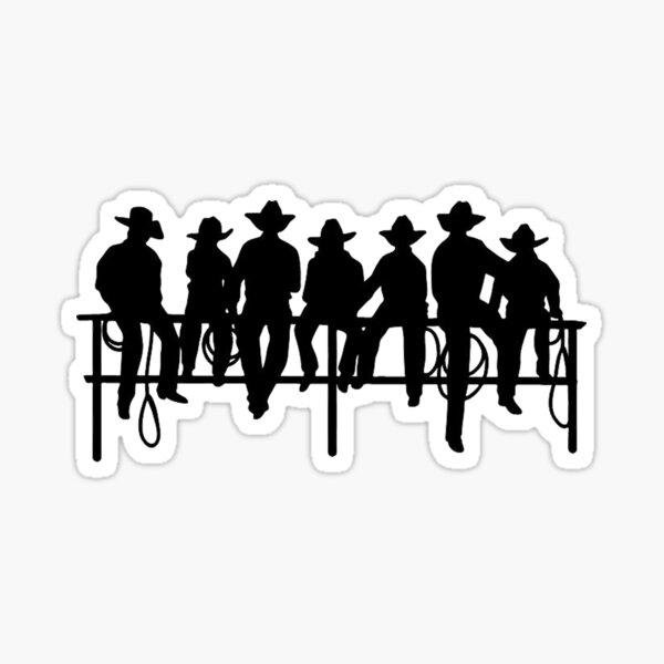 Cowboys on wood fence Sticker