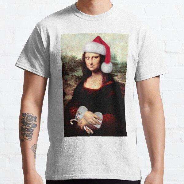 Mona Lisa Wearing a Santa Hat Classic T-Shirt
