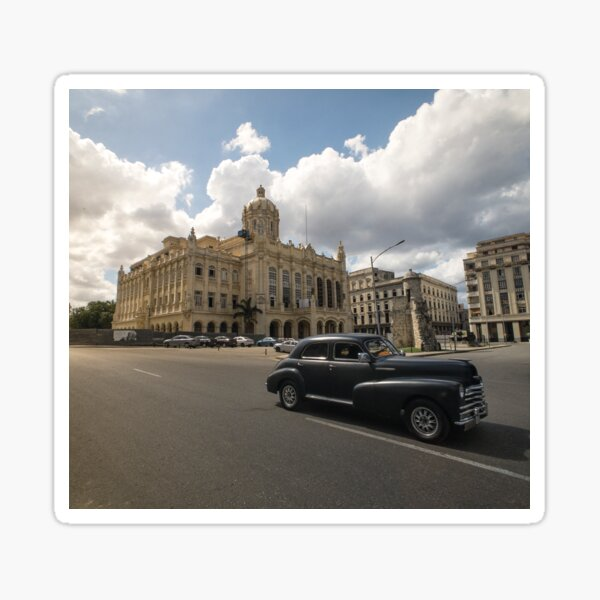 Black american car passing in front of the Revolution Museum, La Havana, Cuba. Sticker