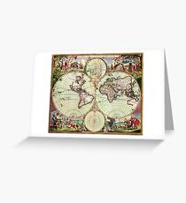World Map 1665 Greeting Card