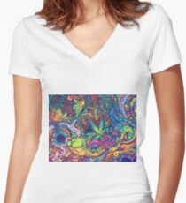 Hippie Wallpaper Gif #Psychedelicgif, #psychedelic, #psychedelia, #lsd, weed, dreams, lsdgif, weedgif,  psycodelia Women's Fitted V-Neck T-Shirt