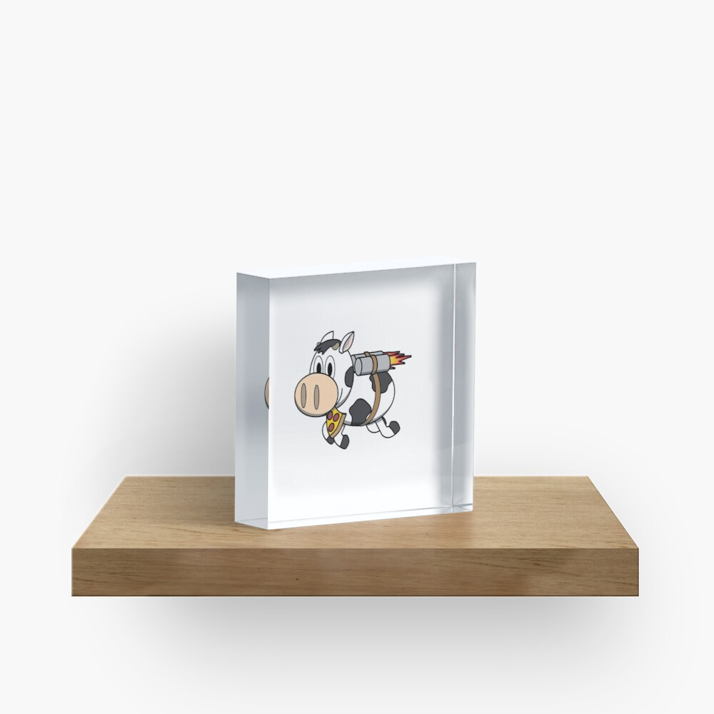 Cow Eating Pizza Wearing a Jetpack Acrylic Block