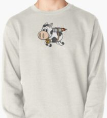 Cow Eating Pizza Wearing a Jetpack Pullover Sweatshirt