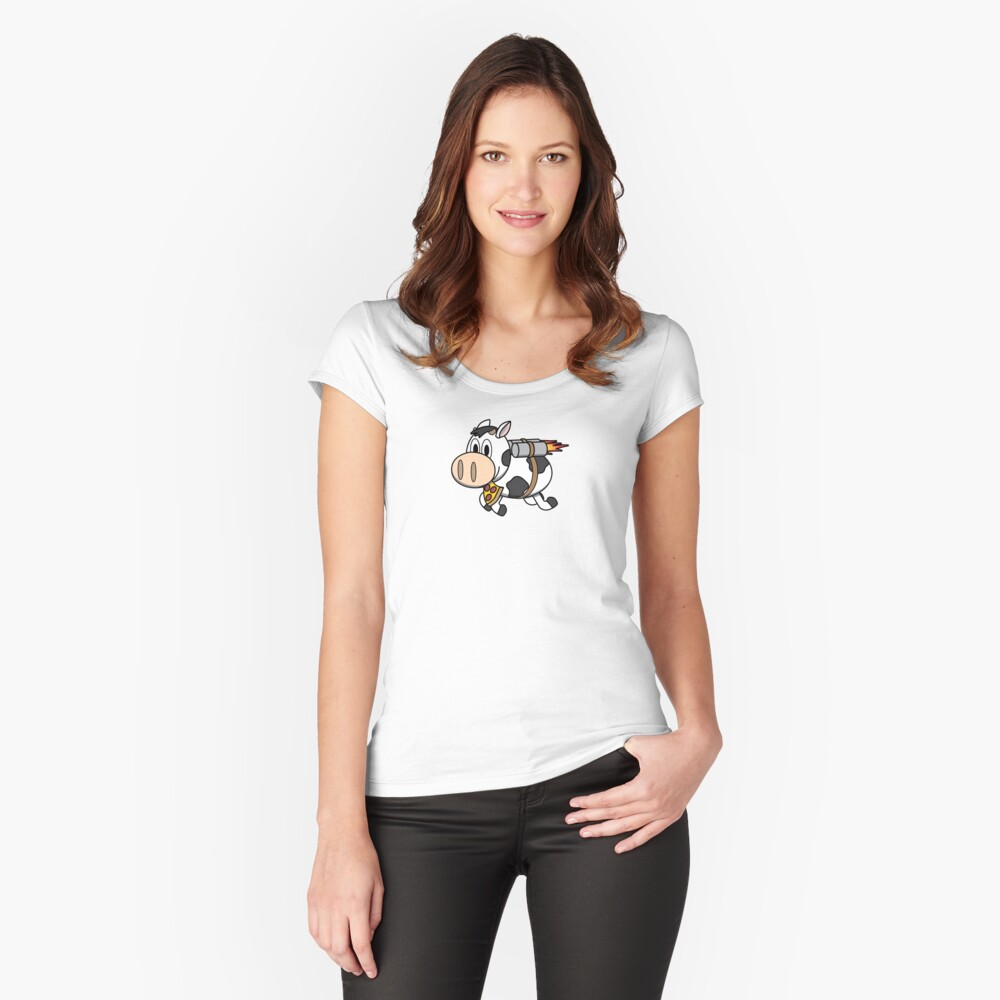 Cow Eating Pizza Wearing a Jetpack Fitted Scoop T-Shirt